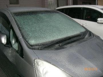 凍ったフロントガラス 24.2.3